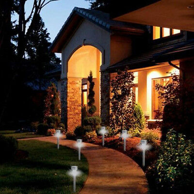 12x Outdoor Stainless Steel Solar Light LED Lawn Garden Path Lamp waterproof New