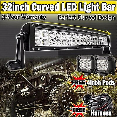 """32inch Curved Led Light Bar + 4"""" CREE Pods Offroad Wrangler Polaris Jeep SUV 4WD"""
