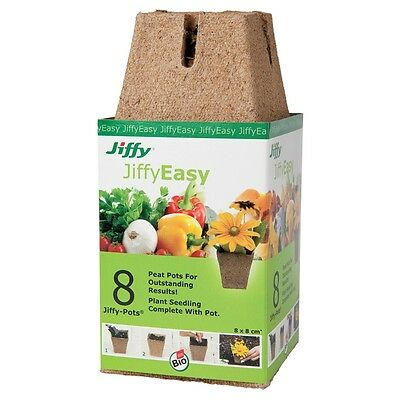 Jiffy 8cm Square Peat Propagation Pots - 8 Pack