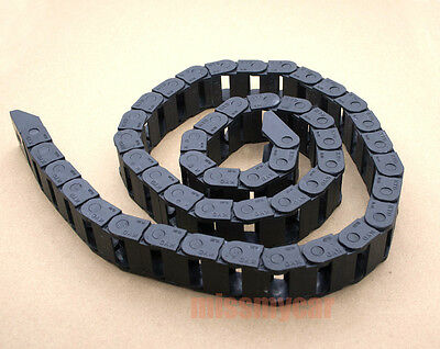 "1M 1000mm 40"" Black Long Nylon Cable Drag Chain Wire Carrier R18 10mm x 10mm"