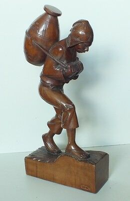 Large Signed Beautifully Carved Chinese/japanese Figure Of A Water Carrier