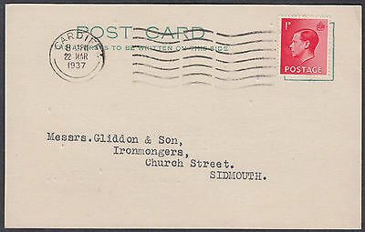 1937 KEVIII 1d red Cardiff M/C to Messrs Giddon&Son, Ironmongers, Sidmouth,Devon