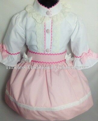 Sale £25, Spanish Pink Girls Ruffle Shirt & Skirt Outfit Set Romany 1 Years