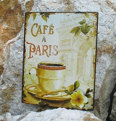 Blechschild cafe Paris Kaffee Wandbild Metall Wandschild Kaffeestube Latte