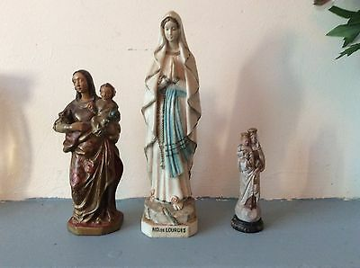 3 X Vintage Religious Statues, Mary, Mother And Baby. Lourdes