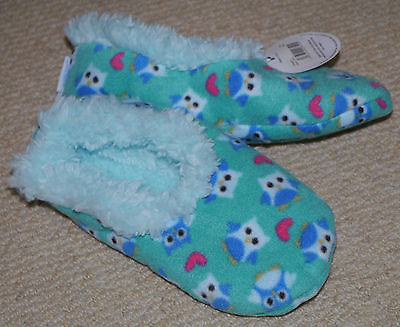 Snoozies slippers for kids size 2-3 green blue owl design BN with tags