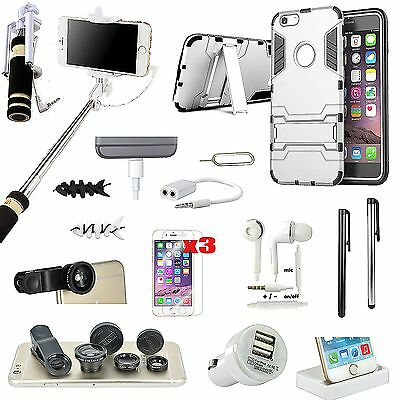 Case Cover+Dock Charger+Monopod+Fish Eye Lens Accessory Kit For iPhone 5S 5SE