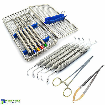 Sinus Lift Instruments Kit Osteotomes-Offset-Concave Tip+Cassette Needle Holder