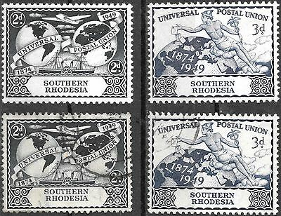 SOUTHERN RHODESIA 1949 UPU 75th ANNIVERSARY MNH AND VFU USED COMPLETE SETS 1223
