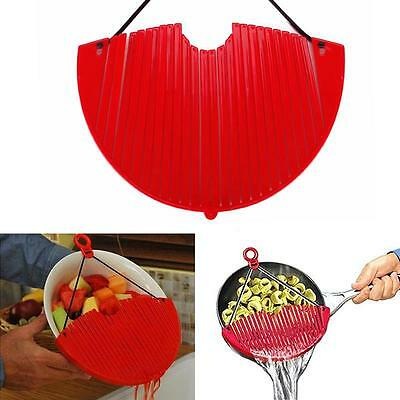 Hot Red Large Expandable Strainer Just Lock On & Strain Better Strainer Easily