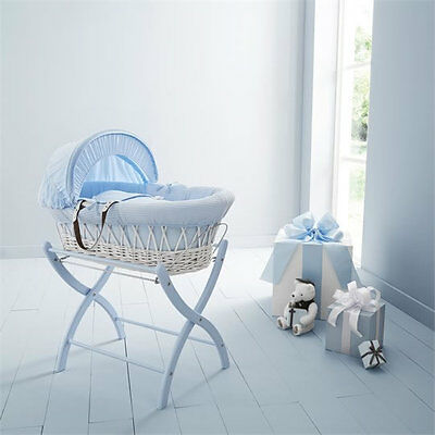 Brand new in box Izziwotnot white wicker moses basket blue gift with blue stand