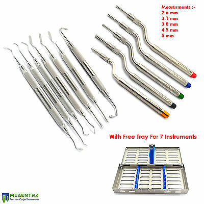 Sinus Lift Instruments-Curettes-Elevators Implant Osteotomes Set+FREE Cassette