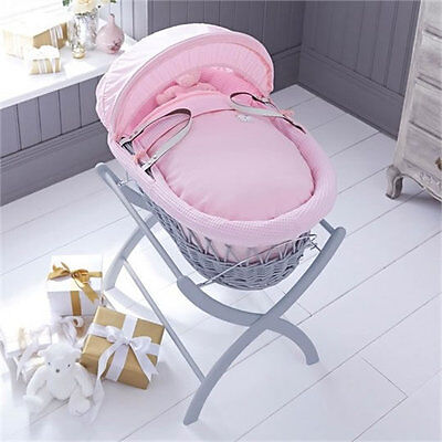 Brand new Izziwotnot grey wicker moses basket in pink gift with grey stand
