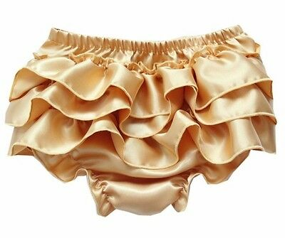 Baby Girls Gold Satin Ruffle Frilly Nappy Cover Pants Knickers