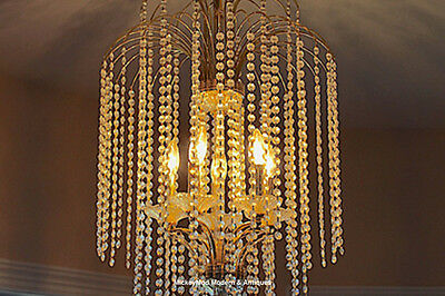 Vintage Crystal & Brass, 2 Tier Waterfall Chandelier with 5 Sconce