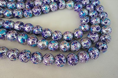 20 Silver/Blue/Purple 10mm Round Glass Beads #g3565