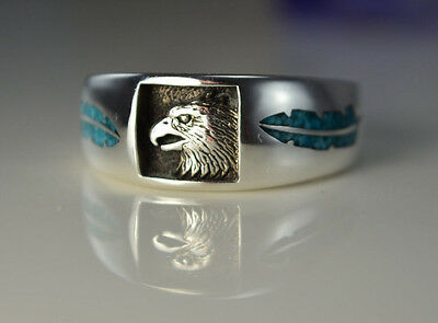 Sterling silver Navajo designed ring w Eagle & Turquoise feathers Size 7 thru 13