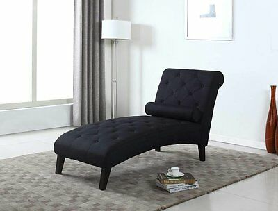 BLACK Fabric Chaise Lounge Sofa Couch Seat Living Room Modern Lounger  Recliner