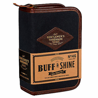 Wild And Wolf Gentlemen's Hardware Navy Shoe Shine Travel Kit Gift Set For Men