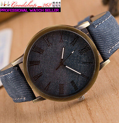 Fashion UNISEX Mens Cowboy Leather Band Analog Quartz Watches Women Casual Watch