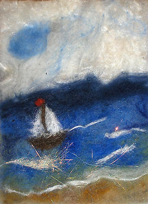 """ACEO Original """"The Little Boat in a wild Sea"""" Hand Needle felted - A Lobban"""