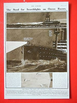 R M S Titanic Postcard - The Need For Searchlights On Ocean Racers