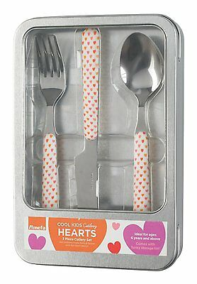 Amefa Hearts 3 Piece Cool Kids Children Cutlery Set In Gift Tin