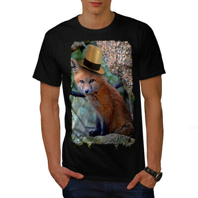 Wellcoda Fox Hat Cool Animal Mens T-shirt, Flame Graphic Design Printed Tee