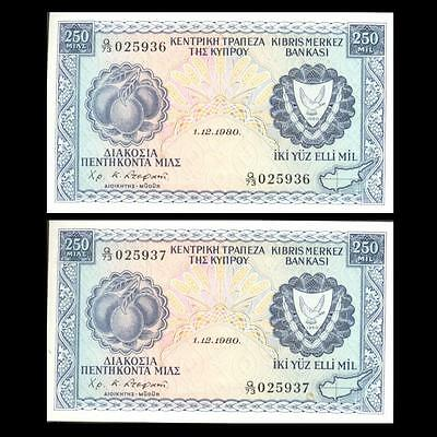 Cyprus 1980 250 Mils 2 Banknotes Aunc With Consecutive Numbers