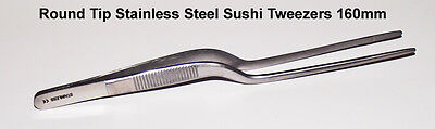 Round Tip Stainless Steel Sushi Placement Tweezers - 160mm