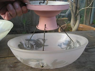 1940's Chain Drop Glass Dome Ceiling/Overhead Light Fixture Pink