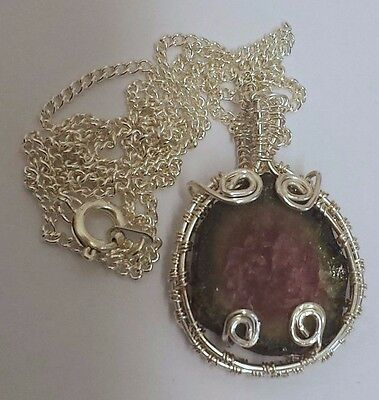 """HAND CRAFTED WATERMELON TOURMALINE PENDANT 35mm WITH 18"""" CHAIN & POUCH"""