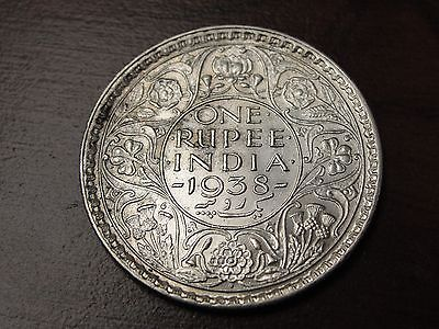 1938 B India Rupee 11.66 Gr. 917 Fine Silver Coin KM# 555 Nice Details