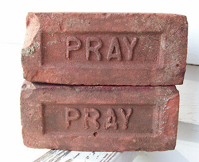 "Pair Of ANTIQUE ""PRAY"" BRICKS  New England GREENFIELD MA  Brickyard (Red Clay)"