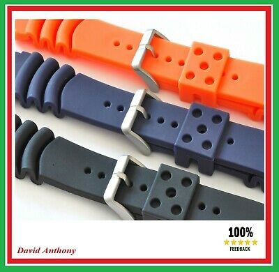 18MM to 22MM DIVERS PU RUBBER WATCH STRAP FOR SEIKO.CURVED VENT Z18, Z20, Z22