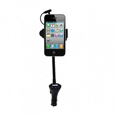Universal Car Holder Stand with FM Radio Transmitter and USB Car Charging Lead