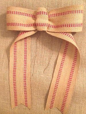 Primitive Jute Burlap Webbing Garland Ribbon Olde Thyme Christmas Red Striped 5/'