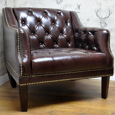 Brown Leather Studded Button Back Arm Chair Armchair Vintage Style Club Chair