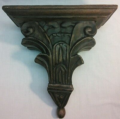 """Handcrafted Hand Carved Wood Corbel Wall Shelf Sconce Dark Brown 12"""""""