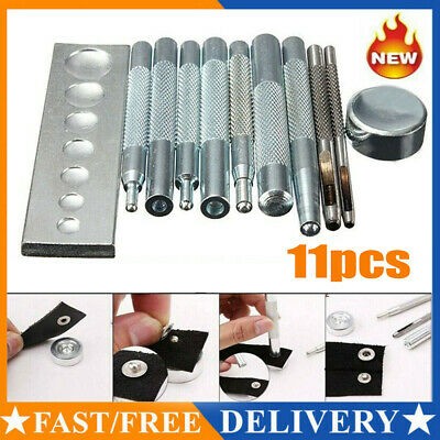11PCS Die Punch Hole Snap Rivet Setter Base Kit Craft Tool For DIY Leather Craft