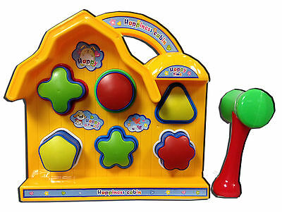 Kids Bright Popup Hammer & House Shape Sorter Toddler Toy Fun Learning Gift New