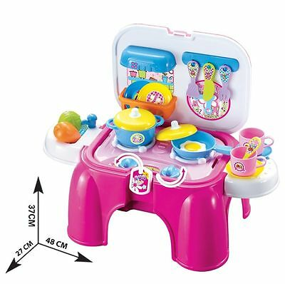 New Kids Multi Function Stool & Kitchen Play Set Toy With Sound & Light Toys