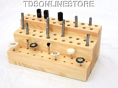 63 Hole Solid Wood Bench Top Bur, Stamp, Etc Tool Organizer