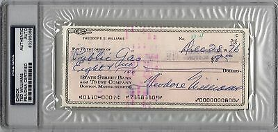 Boston Red Sox Ted Williams Signed Check Autograph Auto PSA