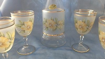 Vintage frosted crystal glass floral wine drink set decanter +4 Gioryi Italy