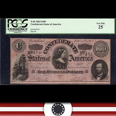 *LUCY PICKENS* T-65 1864 $100 Confederate Currency, PCGS 25   53203