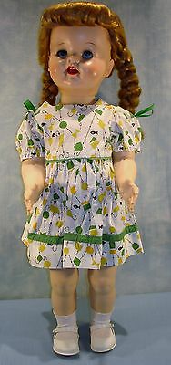 """Vintage Ideal Saucy Walker Doll 22"""", Green and Yellow Dress"""
