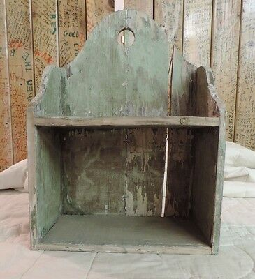 Vintage Shabby Chic Wall Shelf Green Chippy Great Character Two Shelf Solid