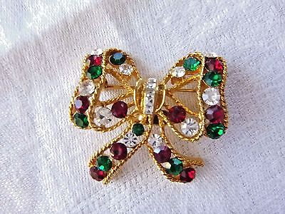 Signed EISENBERG ICE Christmas Ribbon Bow Pin/Brooch Rhinestones