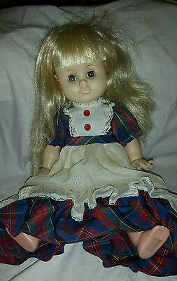 Vintage Effanbee 1967 Baby Face Doll Dimpled Chin 2600 Blonde Green Eyes Plastic